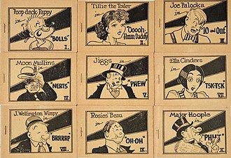 "A set of Tijuana bibles drawn by ""Mr. Prolific"". This set was released in 1936 and usually sold for a quarter each. Nine of the ten comics in the set are shown. Tjb-diagonal-set-covers.jpg"
