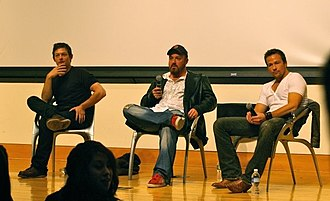 The Boondock Saints II: All Saints Day - Norman Reedus (left), Troy Duffy (center), and Sean Patrick Flanery (right) promoting Boondock Saints 2 at Drexel University in Philadelphia, PA.