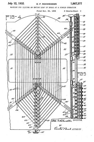 Sliced bread - The multiple cutting bands in Rohwedder's 1928 slicer are shown in this diagram from his patent.