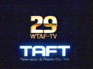 "WTXF-TV - WTAF-TV logo under Taft ownership, c. 1985. The ""29"" dates from the early 1970s and was retained until 1995, long after the station became WTXF."