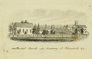 Rhinebeck (town), New York - The Methodist Church and Academy at Rhinebeck, N.Y. (circa 1856-1860) by John Warner Barber