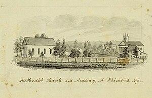 Rhinebeck (town), New York - The Methodist Church and Academy at Rhinebeck, N.Y. (circa 1856-1860) by John Warner Barber
