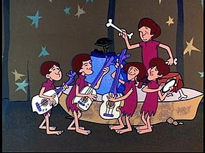 The Beau Brummels -  Clockwise from top right: John Petersen, Sal Valentino, Ron Meagher, Ron Elliott, and Declan Mulligan perform as the Beau Brummelstones in a 1965 episode of The Flintstones.