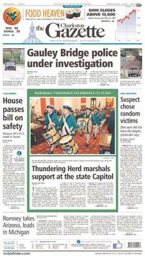 Charleston Gazette-Mail - Image: Charleston Gazette frontpage