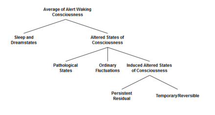 "A simple classification scheme for ASC. Sleep and dream states are distinguished from waking consciousness since they account for substantially different ways of the ability of memory formation and retrieval. Psychiatric diseases that go along with persistent changes of consciousness, like schizophrenia, are covered with the term ""pathological conditions"". In contrast, the classification scheme includes intended and induced ASCs as well as general fluctuations of neurotransmission, which are reversible and short-termed. One step further the graph suggests splitting induced ASCs in persistent and reversible states. Translated from German Schmidt & Majic.[7]"