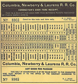 Columbia, Newberry and Laurens Railroad - A ticket for a passenger service on the Columbia, S.C., Newberry and Laurens Railroad, date unknown.