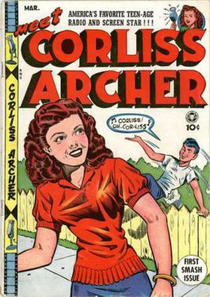 Meet Corliss Archer - Al Feldstein was one of the illustrators of the Meet Corliss Archer comic book. Note film strips and radio microphones indicating the tie-ins and media crossovers.