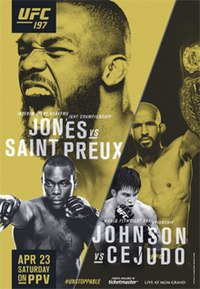 A poster or logo for UFC 197: Jon Jones vs. Ovince Saint Preux.