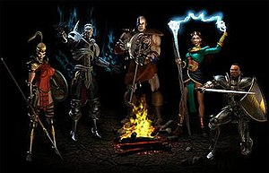 Diablo II - The five character classes in Diablo II as seen during the opening selection animation. From left to right: the Amazon, Necromancer, Barbarian, Sorceress, and Paladin.