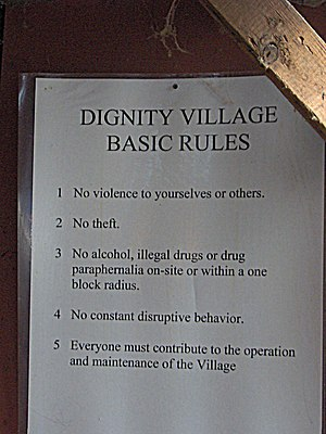 Dignity Village - The basic Dignity Village rules, posted in the Commons