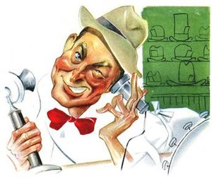 Duffy's Tavern - Sam Berman's caricature of Ed Gardner as the bartender Archie on Duffy's Tavern was published in NBC's 1947 book promoting the network's top stars.