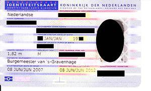 Dutch identity card - Dutch identity card, issued until 8 June 2012