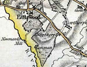 Eastwood, Nottinghamshire - From John Chapan's map of Nottinghamshire, published in 1774