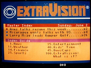World System Teletext - ExtraVision index page, 1984