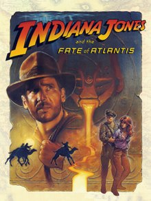 A drawn image showing the logo of the game and a horned gargoyle head emanating lava from its mouth. Several scenes from the story are superimposed over the drawing: A camel chase, a uniformed Nazi soldier holding the red-headed Sophia Hapgood who wears a glowing amulet, and the main protagonist Indiana Jones with his fedora and bullwhip.