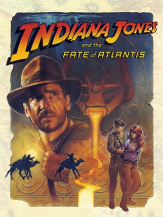 Indiana Jones and the Fate of Atlantis - Lead artist William Eaken's cover artwork depicts the main characters Indiana Jones and Sophia Hapgood.