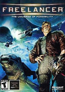 "A blond man, wearing an unbuttoned leather jacket, stands at the right, holding a pilot's helmet in his left hand. In the background, spacecraft engage in a massive battle. The words ""Freelancer: The Universe of Possibility"" are emblazoned at the top."