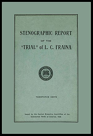 "Louis C. Fraina - Cover of the Fraina ""Party Trial"" pamphlet published by the Communist Party of America in 1920"