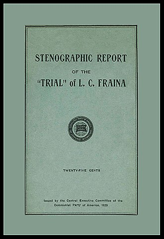 """Louis C. Fraina - Cover of the Fraina """"Party Trial"""" pamphlet published by the Communist Party of America in 1920"""