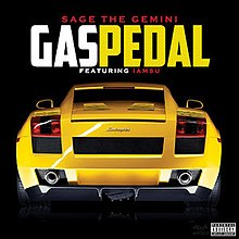 The cover features the back of a yellow Lamborghini. The song title is colored in white and yellow while the artists' names are colored in red.