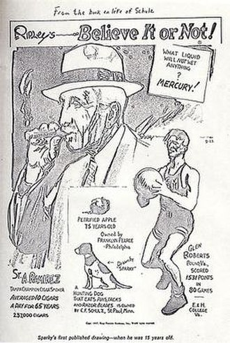 Glenn Roberts (basketball) - First commercial drawing of Charles Schulz (of Peanuts fame). (c.1936)