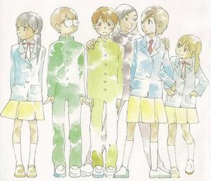 A group of six junior high school students standing side-by-side in school uniforms. From the left is a girl, two boys, a girl wearing a male uniform, and two other girls