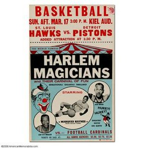 Harlem Magicians - Poster for a basketball event involving Harlem Magicians