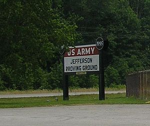 Jefferson Proving Ground - Sign at the entrance from US 421