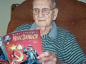 Joe Gill - Gill in his later years, holding a copy of Mike Danger