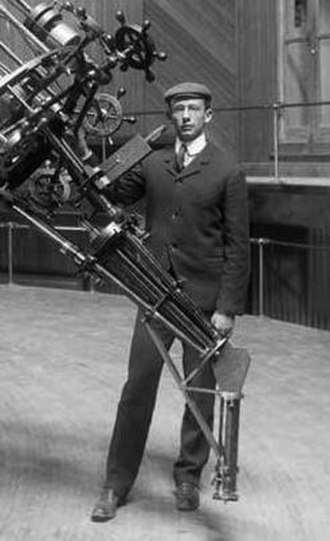 Joel Stebbins - Joel Stebbins, then a graduate student, at Lick Observatory about 1902 posing next to the 36-inch refractor.