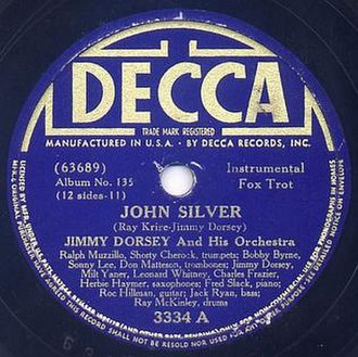 John Silver (song) - 1938 Decca 78, 3334A, reissued as part of a 78 album.