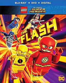Blu-ray cover for Lego DC Comics Super Heroes: The Flash, featuring the Reverse-Flash, the Flash, Batman, Superman and Wonder Woman.