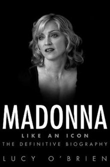 Greyscale image of Madonna in front of a complete black background, with short curly hair. The book title is written beneath her image