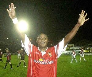 Charles Livingstone Mbabazi - Mbabazi celebrates St Patrick's Athletic's FAI Cup semi-final win in 2003