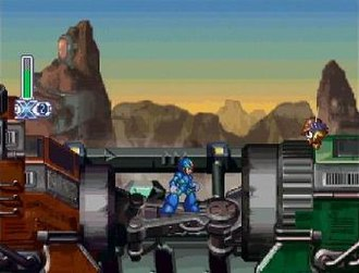 Mega Man X4 - The player character Mega Man X moves through the military train that makes up Slash Beast's level. The player's energy and remaining lives are displayed at the top left.