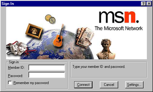 MSN Dial-up - MSN Classic sign-in screen