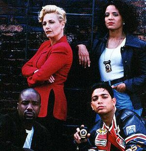 New York Undercover - The principal cast members from season 2 of New York Undercover (clockwise, from top left): Patti D'Arbanville-Quinn as Virginia Cooper, Lauren Velez as Nina Moreno, Michael DeLorenzo as Eddie Torres, and Malik Yoba as J.C. Williams.