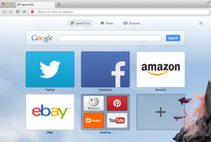 Features of the Opera web browser - A Screenshot of the Speed Dial Page on Mac OS