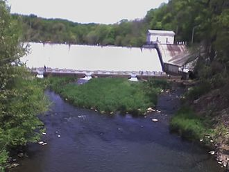 Lake Roland (Maryland) - The dam where Lake Roland flows into Jones Falls