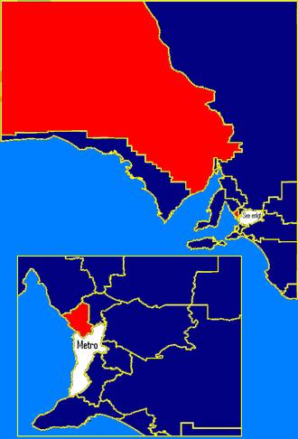 South Australian state election, 1993 - Rural SA: ALP in red, Liberal in blue. These boundaries are based on the 2006 electoral redistribution.