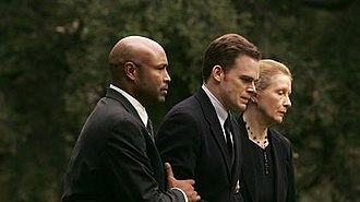 """David Fisher (Six Feet Under) - David's partner, Keith, and mother, Ruth, walk David to Nate's grave in the Season 5 episode """"All Alone"""""""