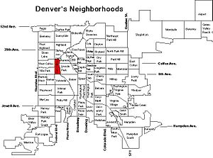 Sun Valley, Denver - Sun Valley on this map of Denver's neighborhoods