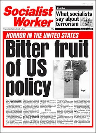 Socialist Worker - Old format, headline after the September 11 attacks