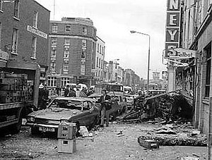 Dublin and Monaghan bombings - Some of the damage caused by the second car bomb on Talbot Street, Dublin