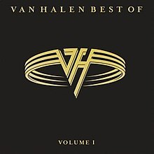 "A black background with a golden ""VH"" flying-v style logo for Van Halen"