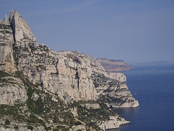 Marseille and Cassis calanques as seen from Su...