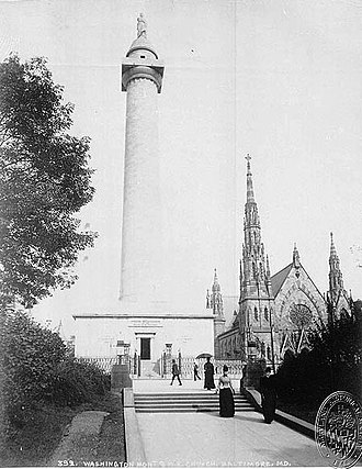 Washington Monument (Baltimore) - Baltimore's Washington Monument, 1890 (looking north)