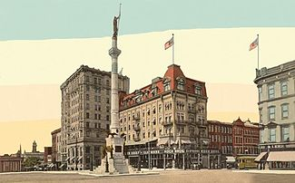 """Postcard (dated 1914) depicting the """"Soldiers & Sailors Monument"""" in Allentown's Center Square. The monument was erected in 1889 to honor the Pennsylvania Volunteers' 47th Regiment in the American Civil War."""