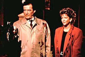 The Man Who Wouldn't Die (1995 film) - Roger Moore and Nancy Allen in a scene from The Man Who Wouldn't Die.