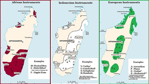 Madagascar: Early 20th century distribution of musical instruments with African, Indonesian or European origins Distribution of Musical Instruments in Madagascar.jpg